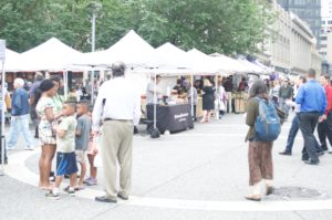 People of Pittsburgh during lunch at the Farmer's Market on June 23, 2016.