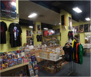 Just one of the four floors that sells used comics, records, and merchandize. It is the first thing customers see when entering the store.