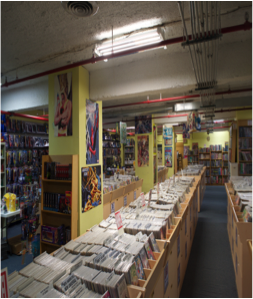 The Basement of the store contains thousands of comics with hundreds more graphic novels and statues.