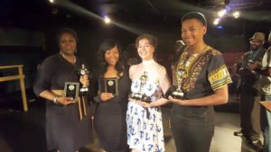 Christine Marie with friends from the Pittsburgh Playwright's Theater Festival in Black and White